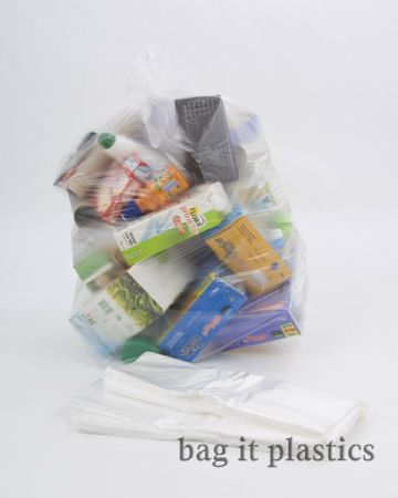 REFUSE / RECYCLING BAGS CLEAR  RUBBISH SACKS STANDARD 64 or HEAVY DUTY 140 GAUGE